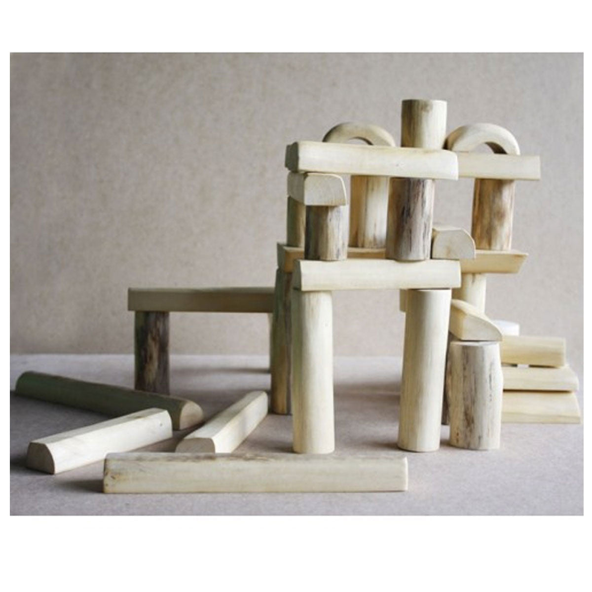QToys Natural Barkless Tree Blocks QToys Wooden Blocks at Little Earth Nest Eco Shop