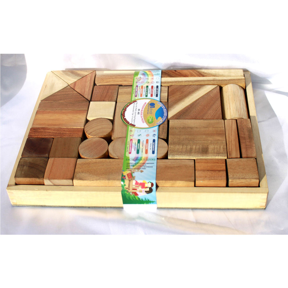 Qtoys Natural Building Block Set of 34 QToys Wooden Blocks at Little Earth Nest Eco Shop