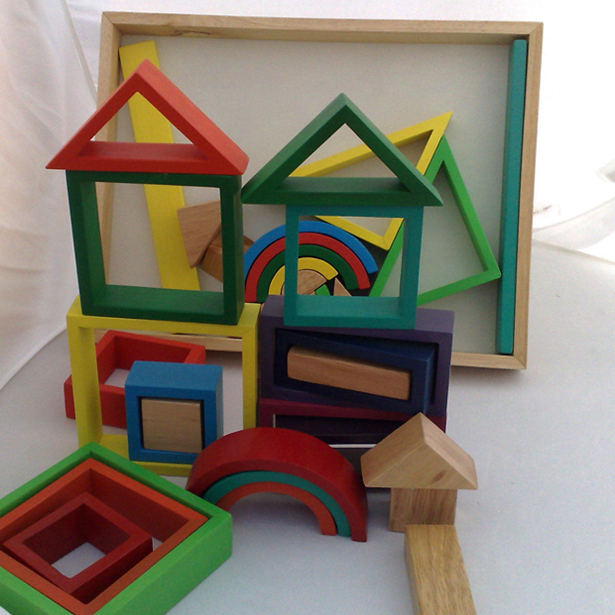 Qtoys Rainbow Blocks QToys Wooden Blocks at Little Earth Nest Eco Shop