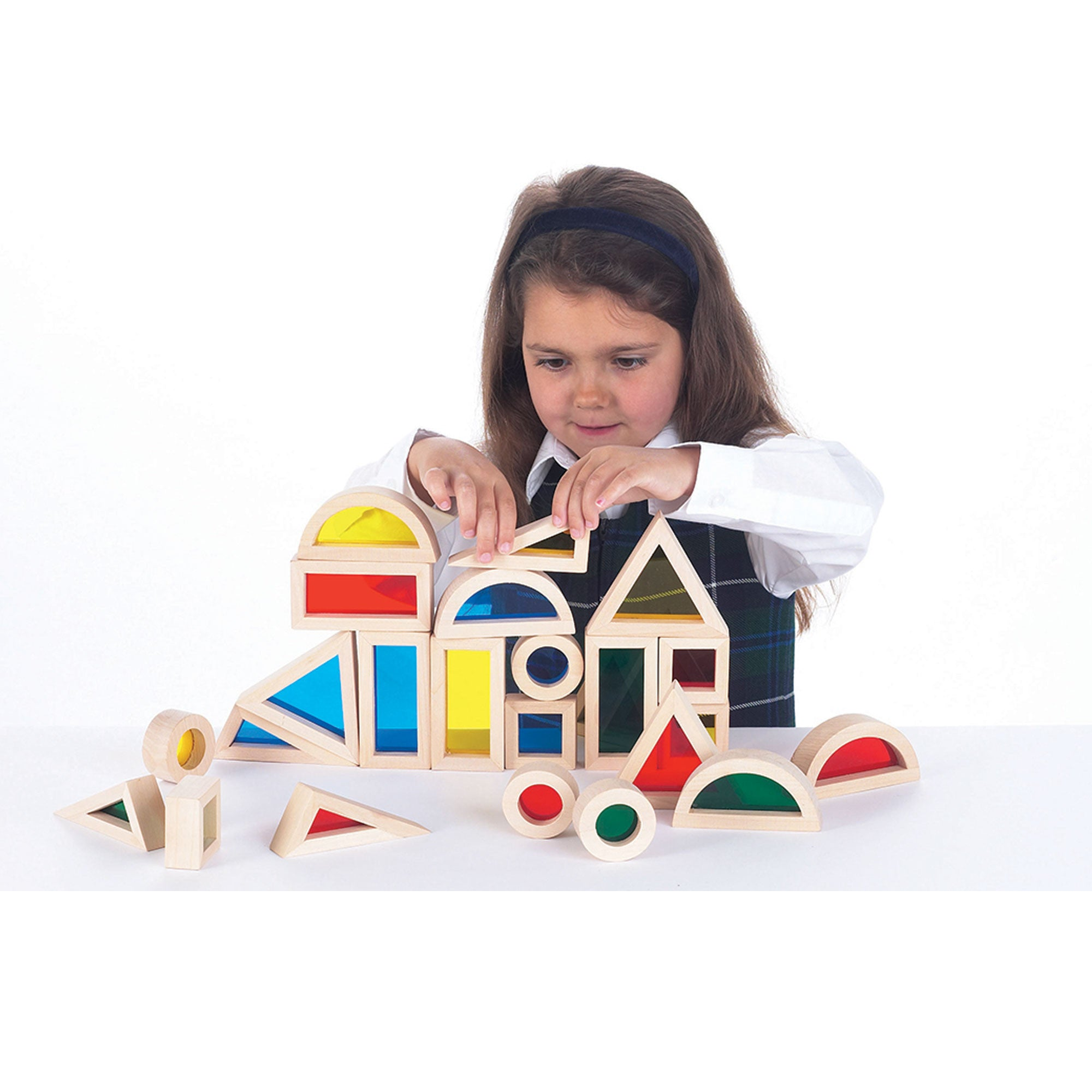 Wooden Rainbow Blocks Set of 24 Little Earth Nest Wooden Blocks at Little Earth Nest Eco Shop