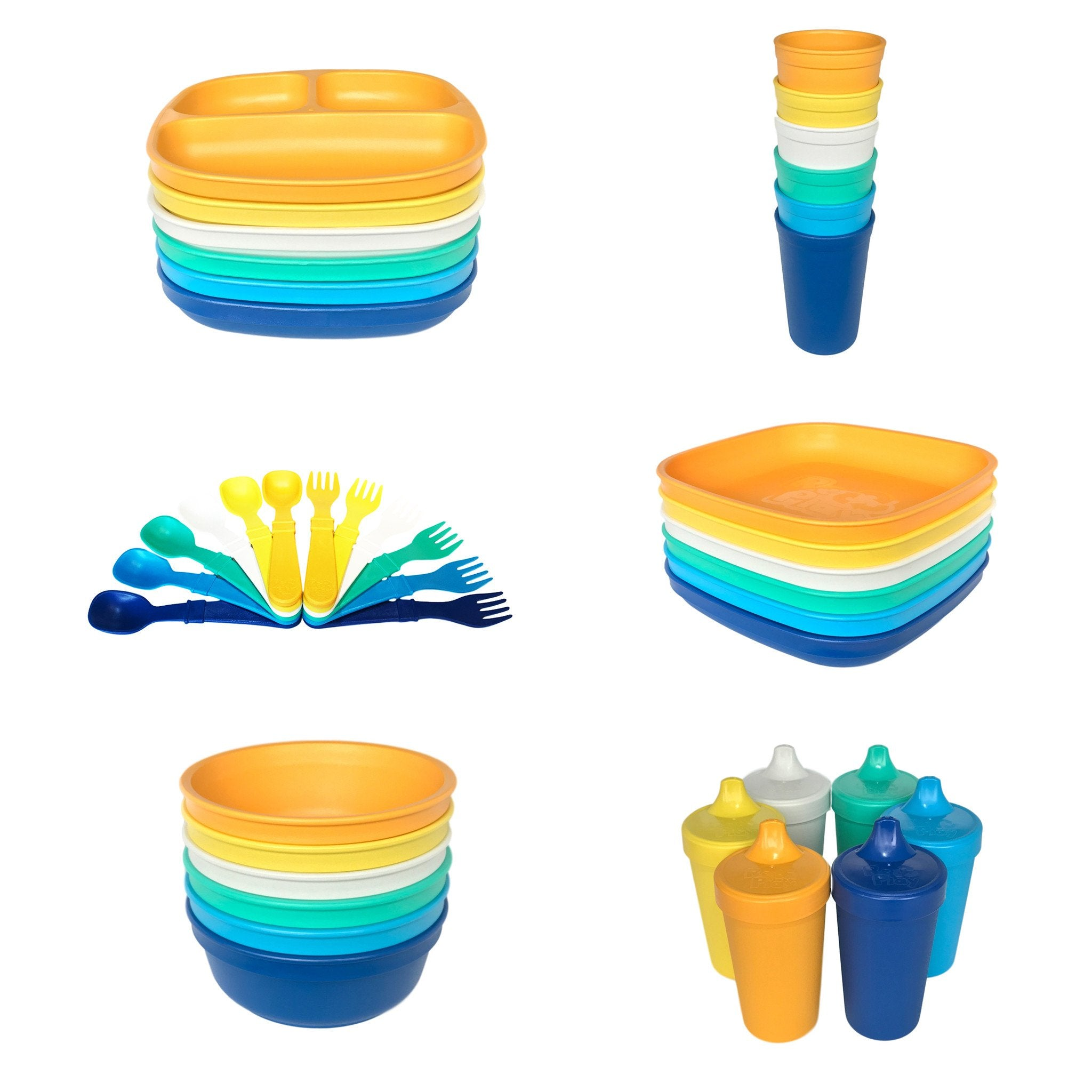 Replay 6 Piece Sets in Beach Replay Dinnerware at Little Earth Nest Eco Shop