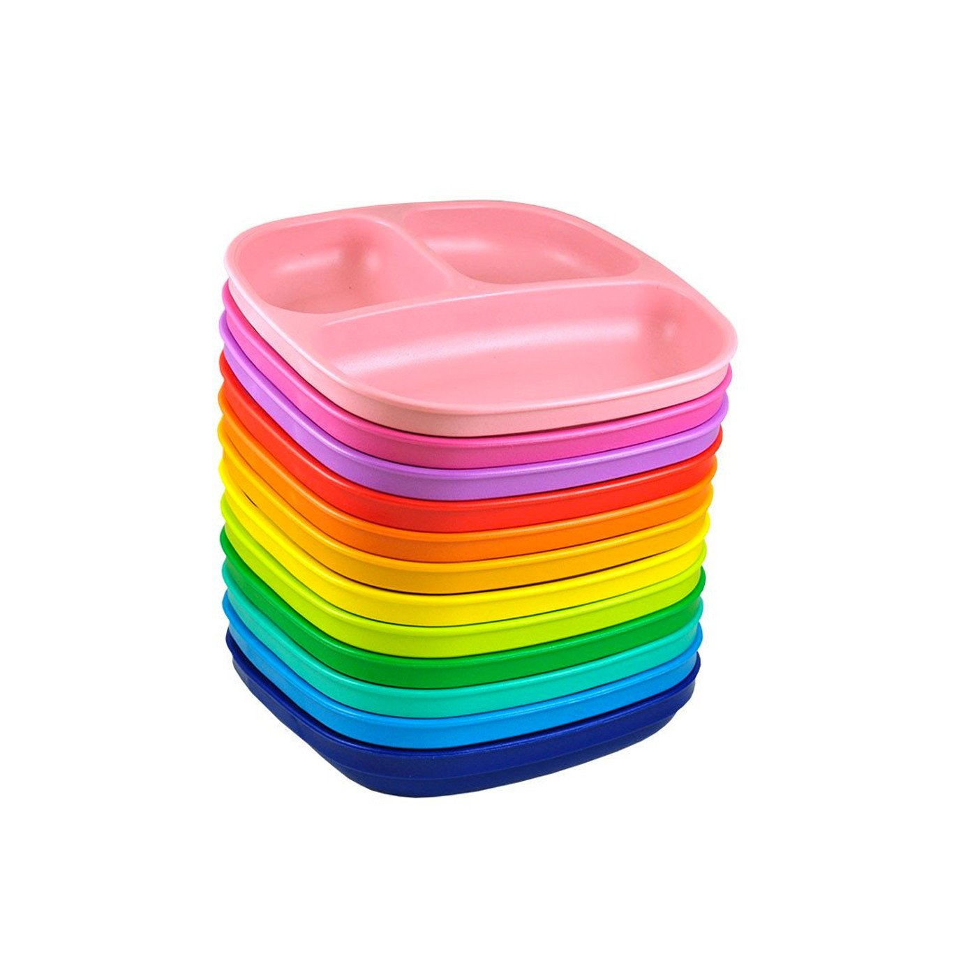 Replay 12 Piece Sets Rainbow Replay Dinnerware Divided Plate at Little Earth Nest Eco Shop