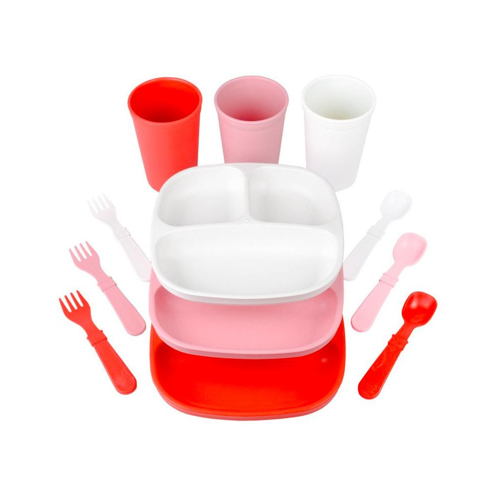 Replay Valentines Cupid Set Replay Dinnerware 3 Tumblers and 3 Divided Plates at Little Earth Nest Eco Shop