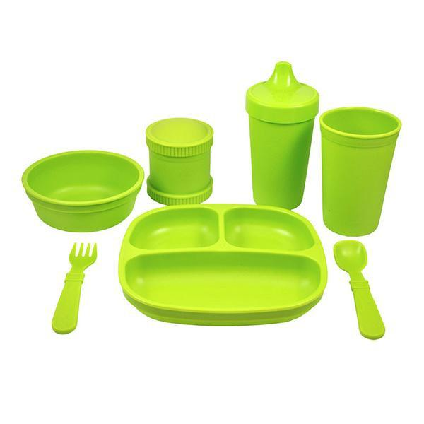 Replay Complete Feeding Set Replay Dinnerware Green / Divided Plate at Little Earth Nest Eco Shop