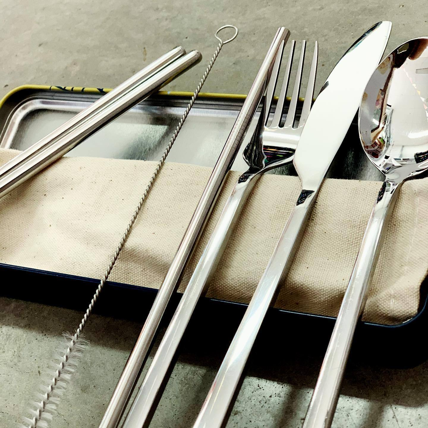 Reusable Cutlery Travel Set Retro Kitchen Lifestyle at Little Earth Nest Eco Shop