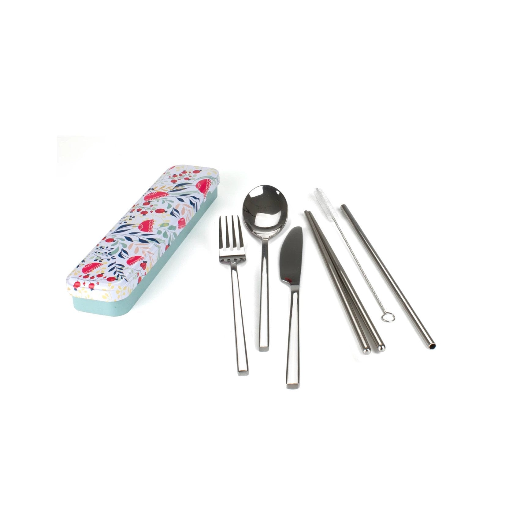 Reusable Cutlery Travel Set Retro Kitchen Lifestyle Botanical at Little Earth Nest Eco Shop