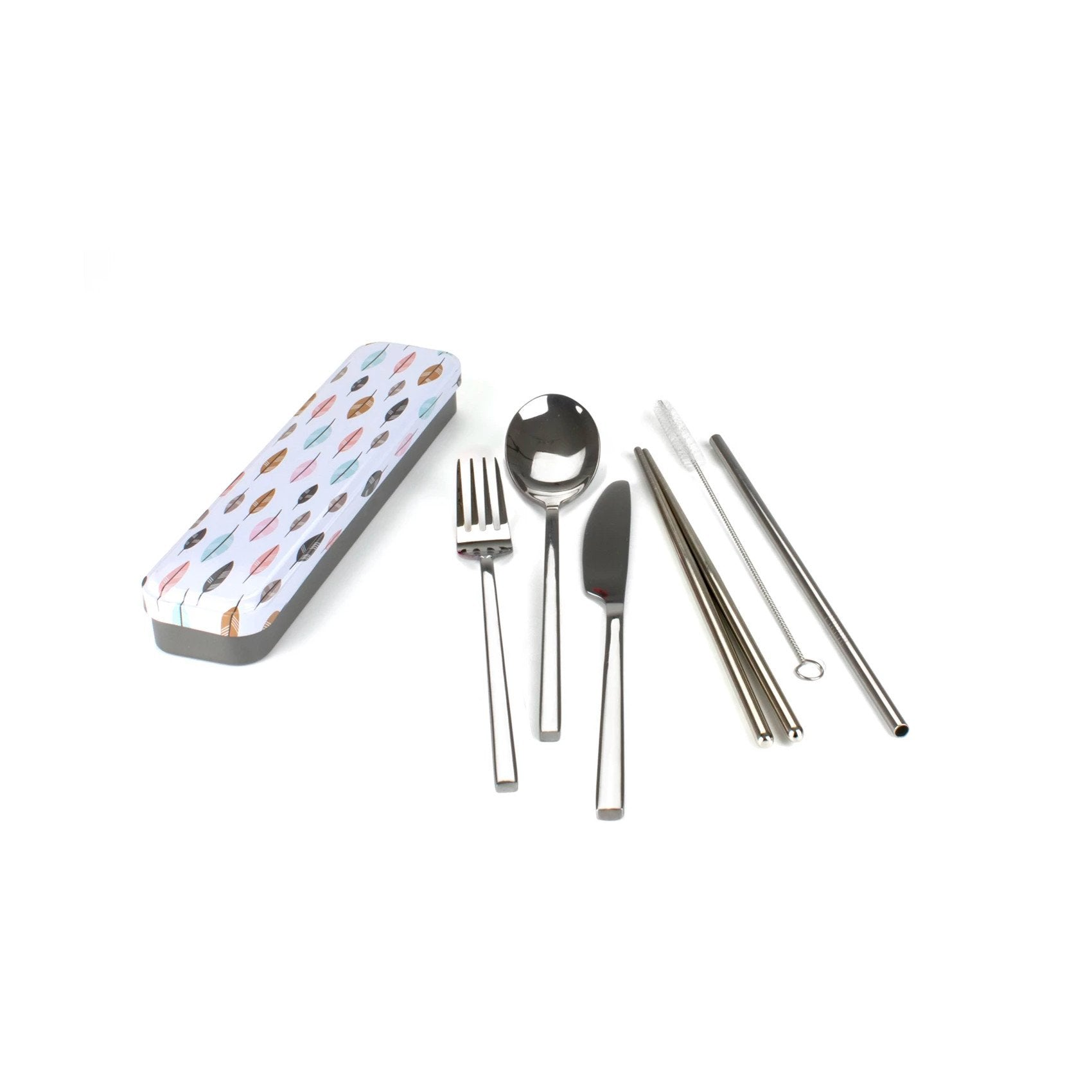 Reusable Cutlery Travel Set Retro Kitchen Lifestyle Leaves at Little Earth Nest Eco Shop