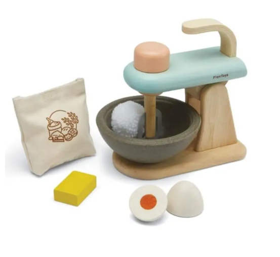 Plan Toys Wooden Stand Mixer Set PlanToys Pretend Play at Little Earth Nest Eco Shop