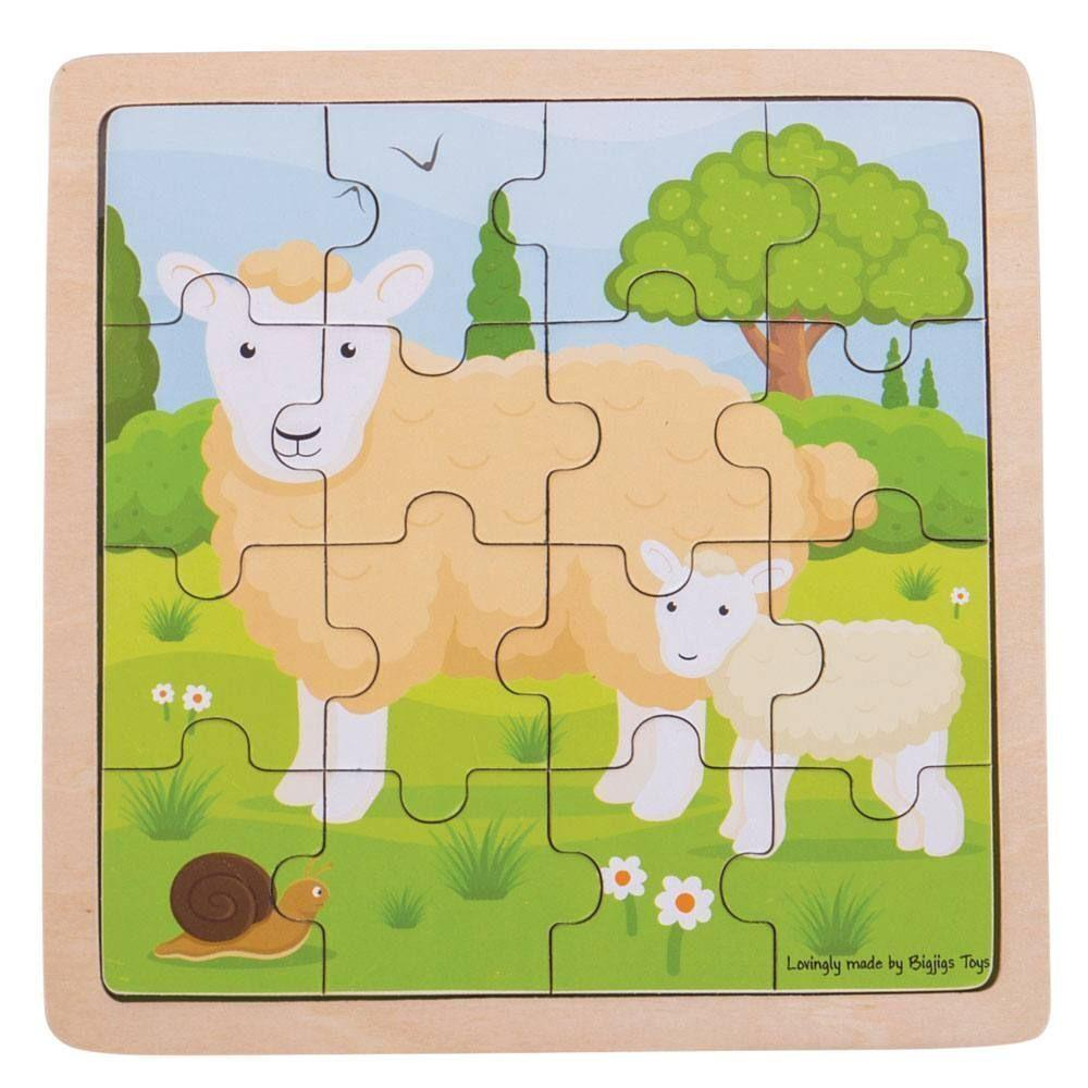 Kids Wooden Animal Puzzle 16pc by Bigjigs Toys Big Jigs Toys puzzle at Little Earth Nest Eco Shop