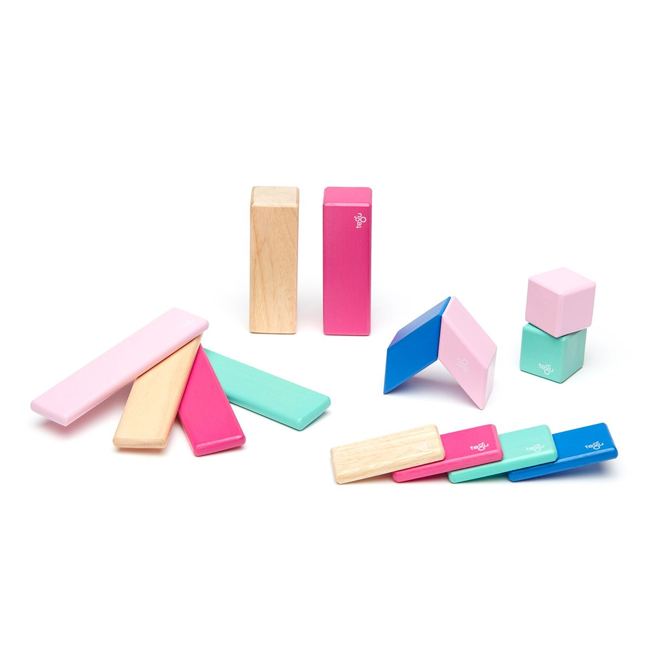 Tegu 14 Piece Magnetic Block Set Tegu Magnet Toys Blossom at Little Earth Nest Eco Shop