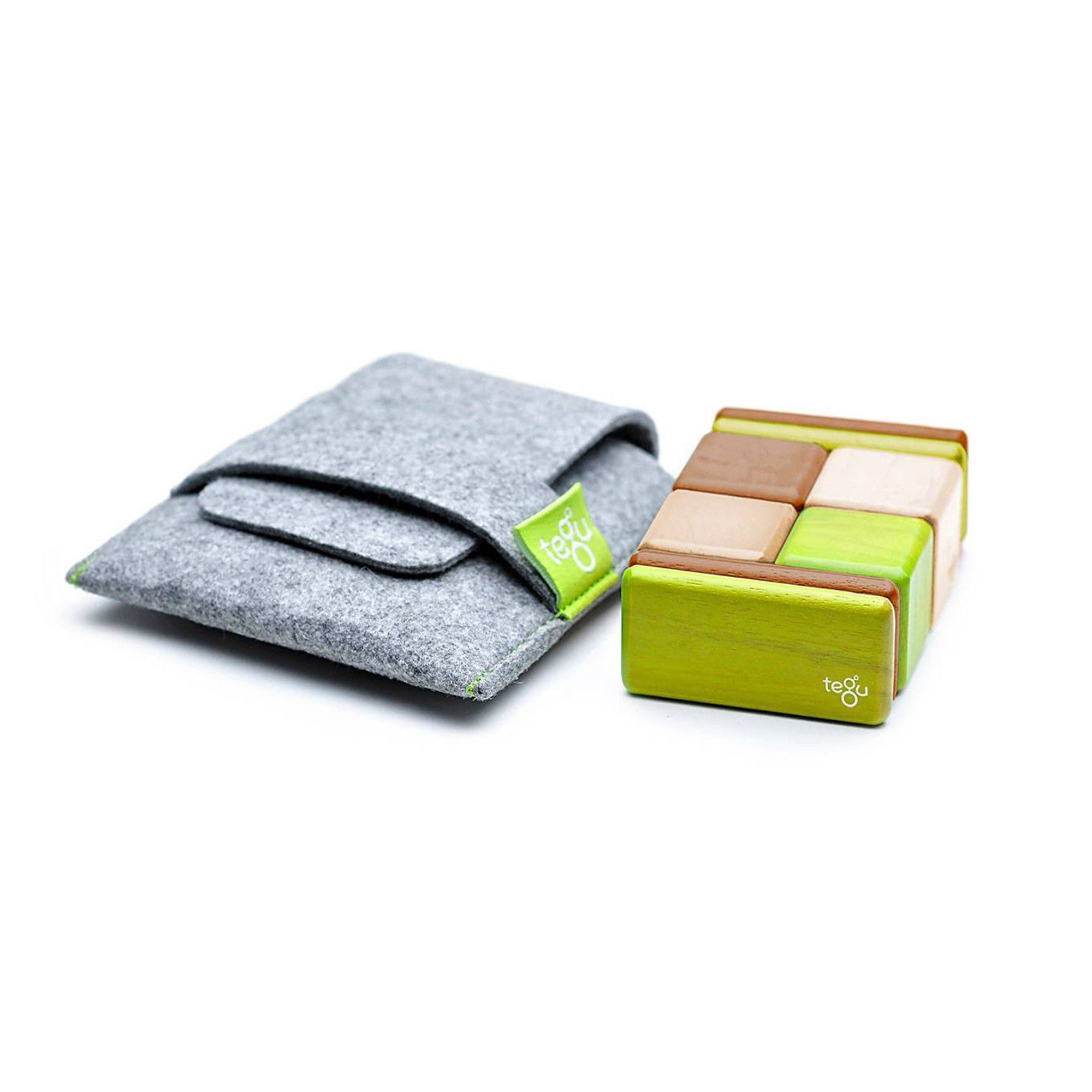 Tegu Pocket Pouch 8 Piece Magnetic Block Set Tegu Magnet Toys at Little Earth Nest Eco Shop