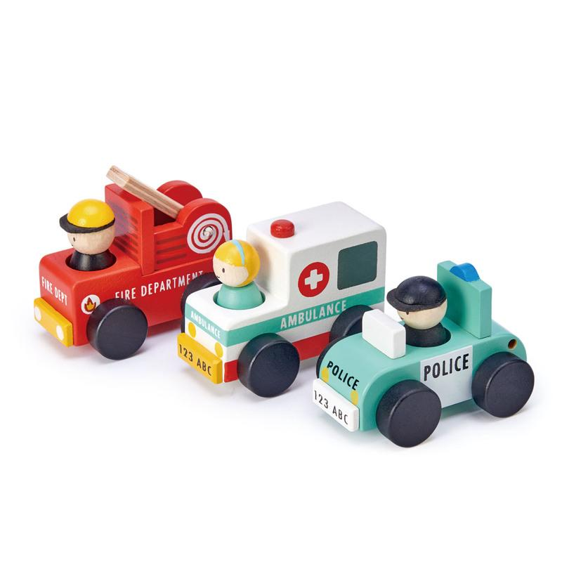 Tenderleaf Toys ABC Emergency Vehicles Tenderleaf Toys Toy Cars at Little Earth Nest Eco Shop