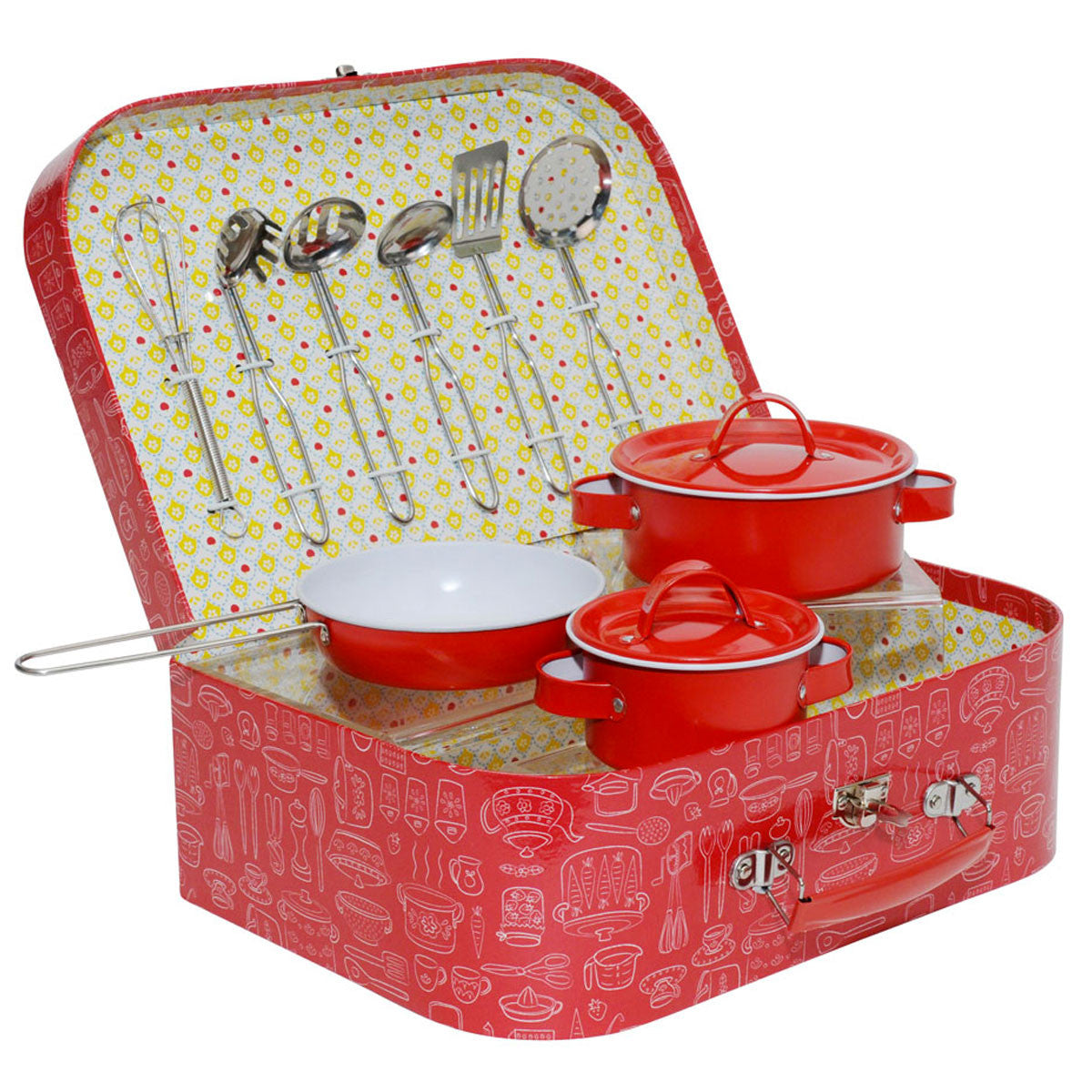 Tiger Tribe Vintage Kitchen Set Petit Collage Pretend Play Red at Little Earth Nest Eco Shop