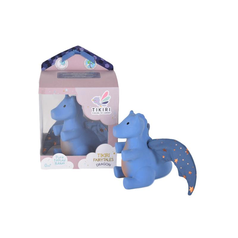 Natural Rubber Dragon Teether Tikiri Dummies and Teethers Blue/Blue at Little Earth Nest Eco Shop