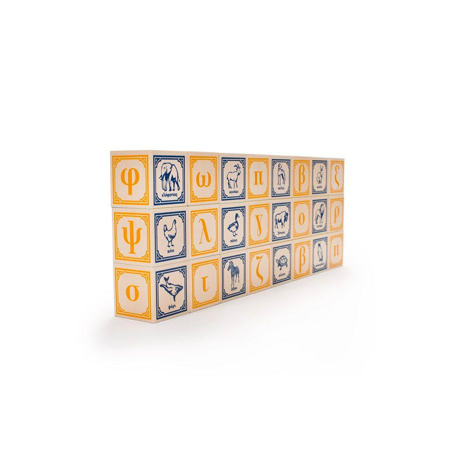Uncle Goose Foreign Language Blocks Uncle Goose Wooden Blocks Greek at Little Earth Nest Eco Shop