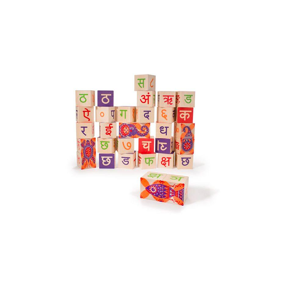 Uncle Goose Foreign Language Blocks Uncle Goose Wooden Blocks Hindi at Little Earth Nest Eco Shop