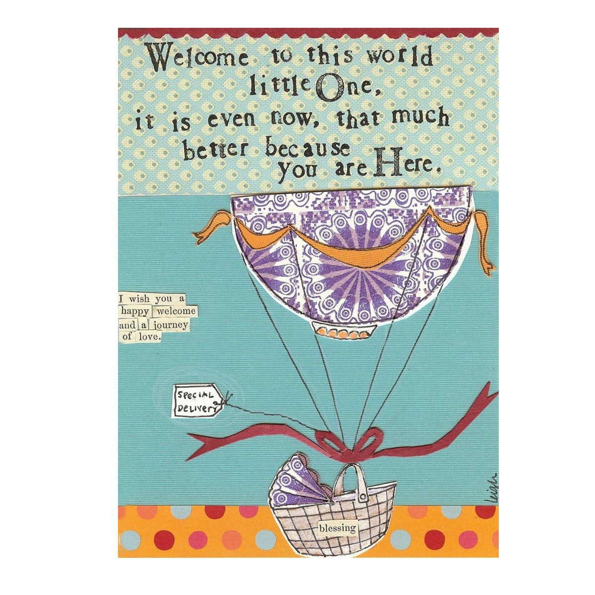 Welcome Little One New Baby Recycled Card   - Little Earth Nest - Little Earth Nest