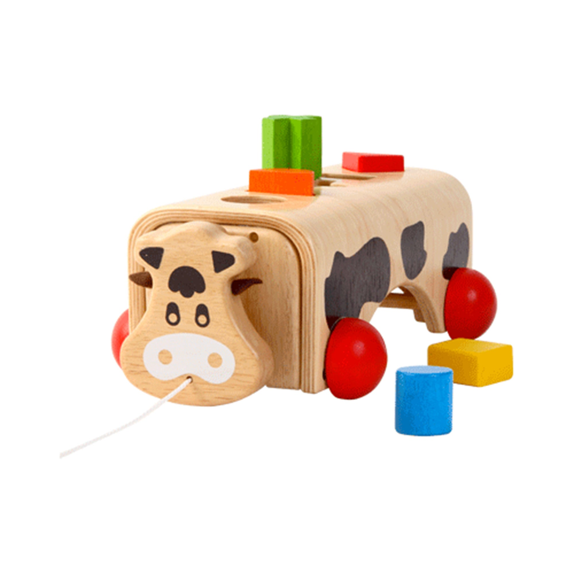 Wooden Geo-Cow Voila Baby Activity Toys at Little Earth Nest Eco Shop