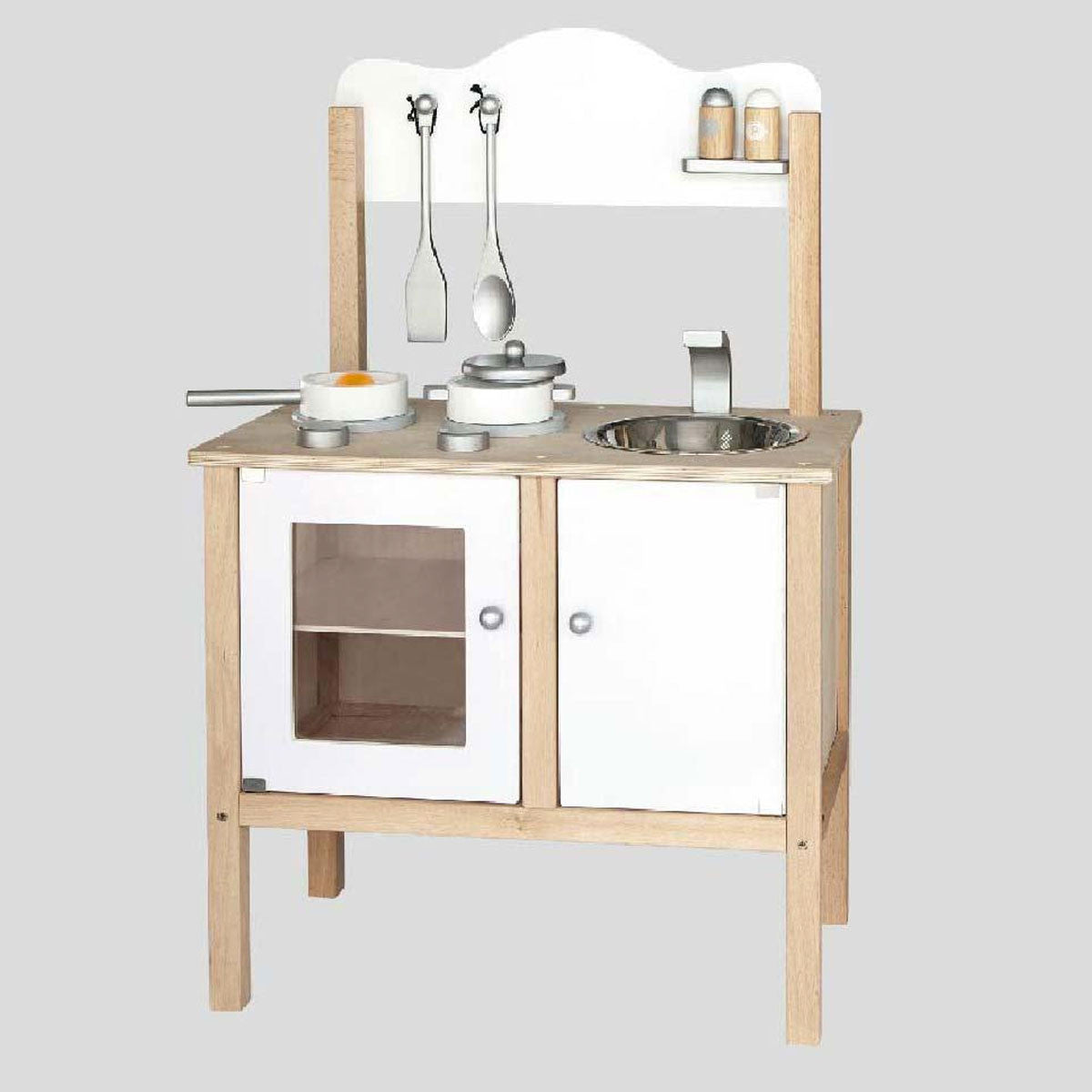 Ply White and Silver Toy Kitchen with Accessories Little Earth Nest Toy Kitchens & Play Food at Little Earth Nest Eco Shop