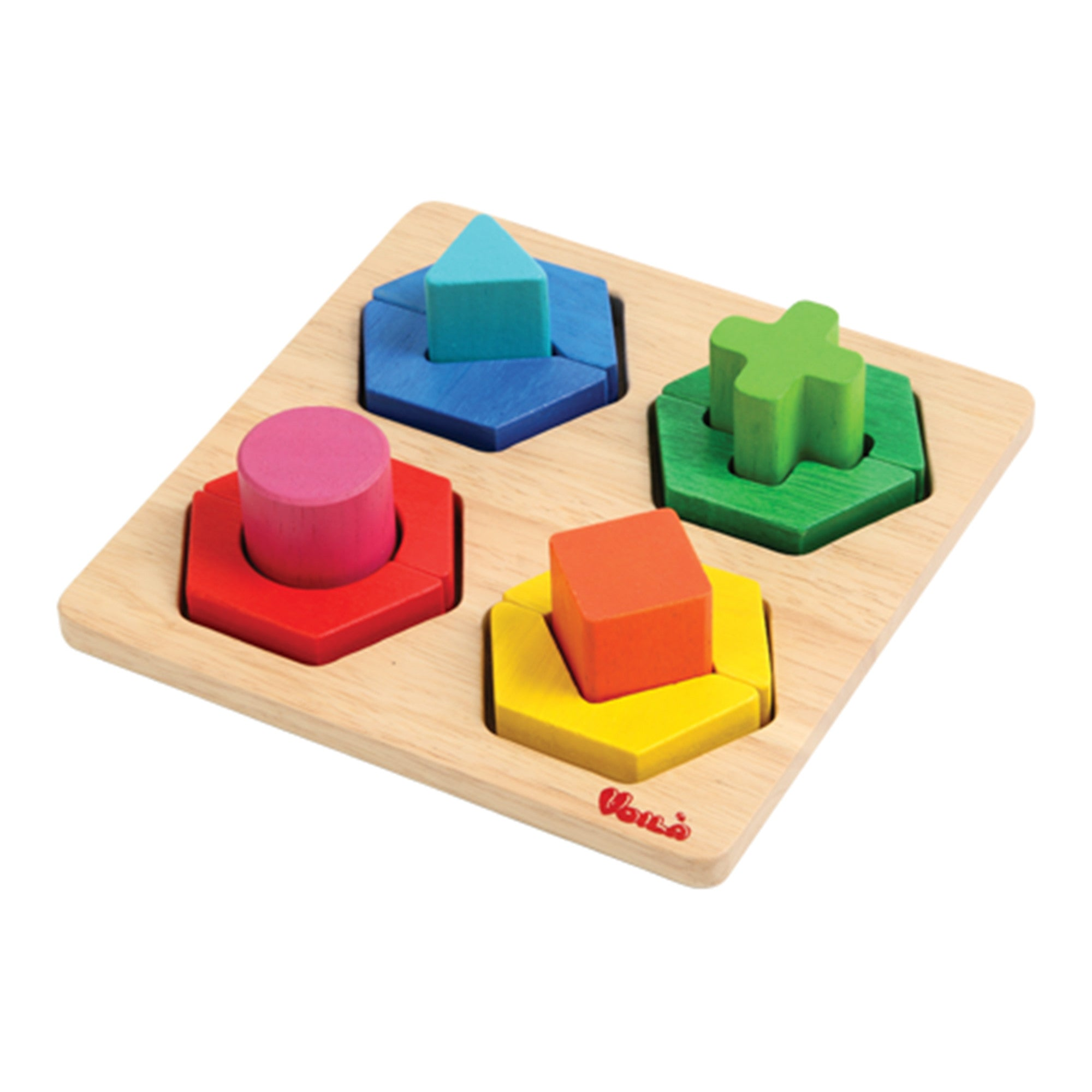 Wooden Rainbow Shapes Puzzle 'Fit Me In'   - Voila - Little Earth Nest - 1