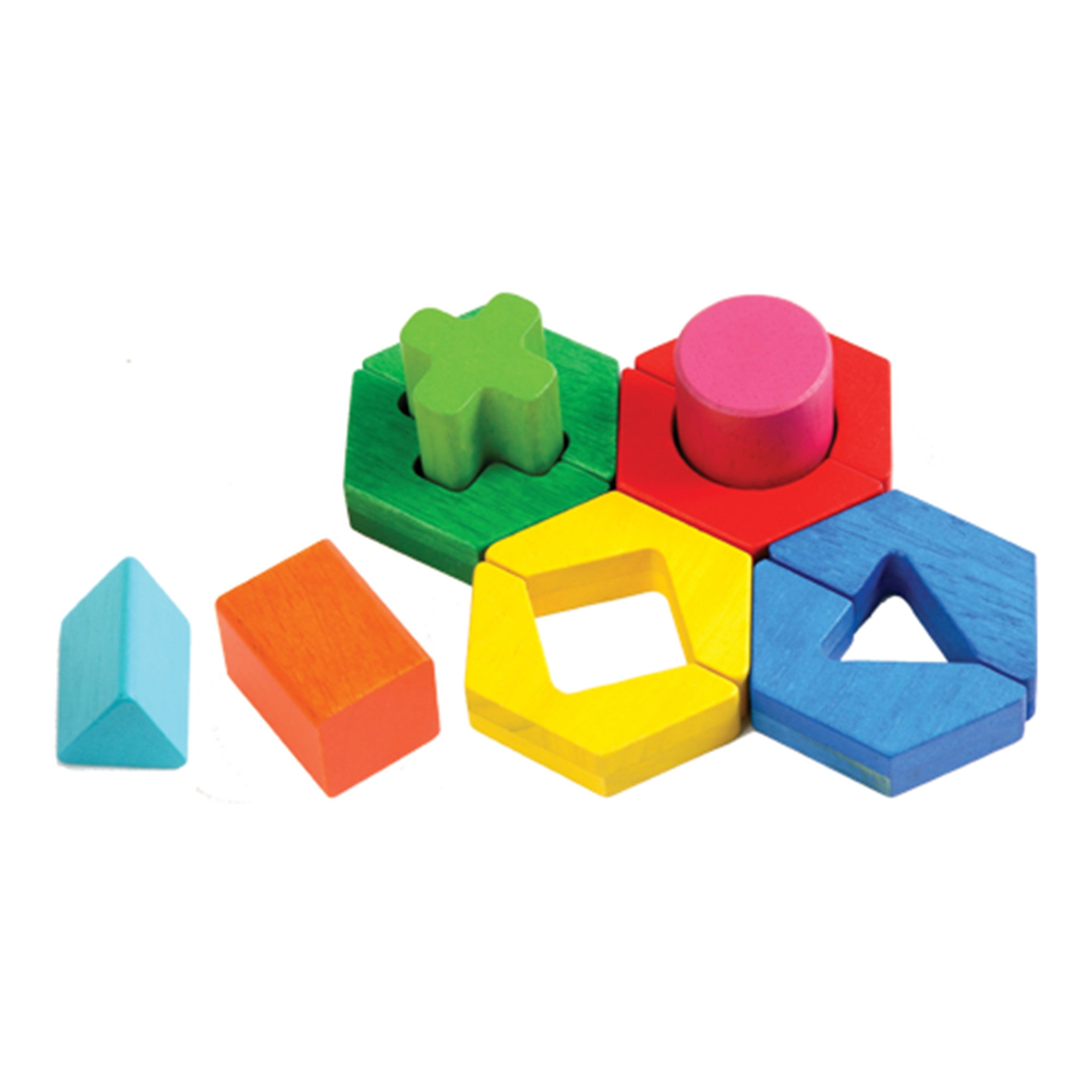 Wooden Rainbow Shapes Puzzle 'Fit Me In' Voila Puzzles at Little Earth Nest Eco Shop