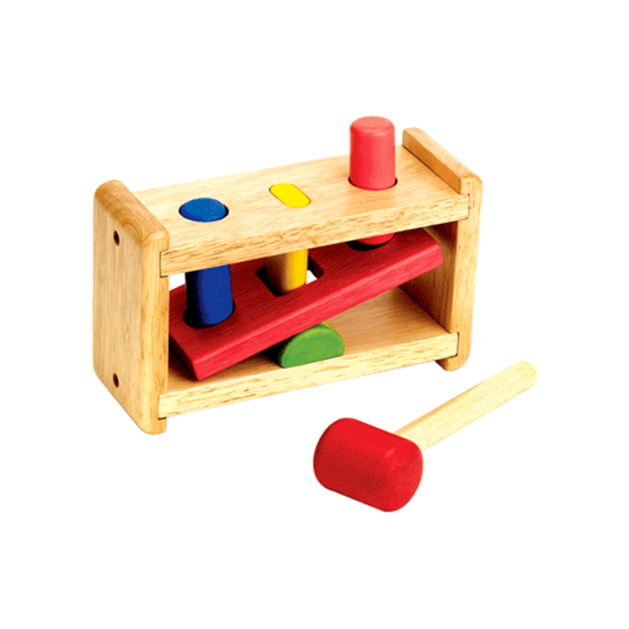 Wooden See-Saw Peg and Hammer Set Voila Baby Activity Toys at Little Earth Nest Eco Shop