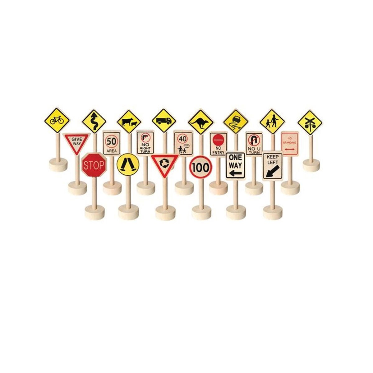 Wooden Traffic Signs - Set of 20 Fun Factory Pretend Play at Little Earth Nest Eco Shop