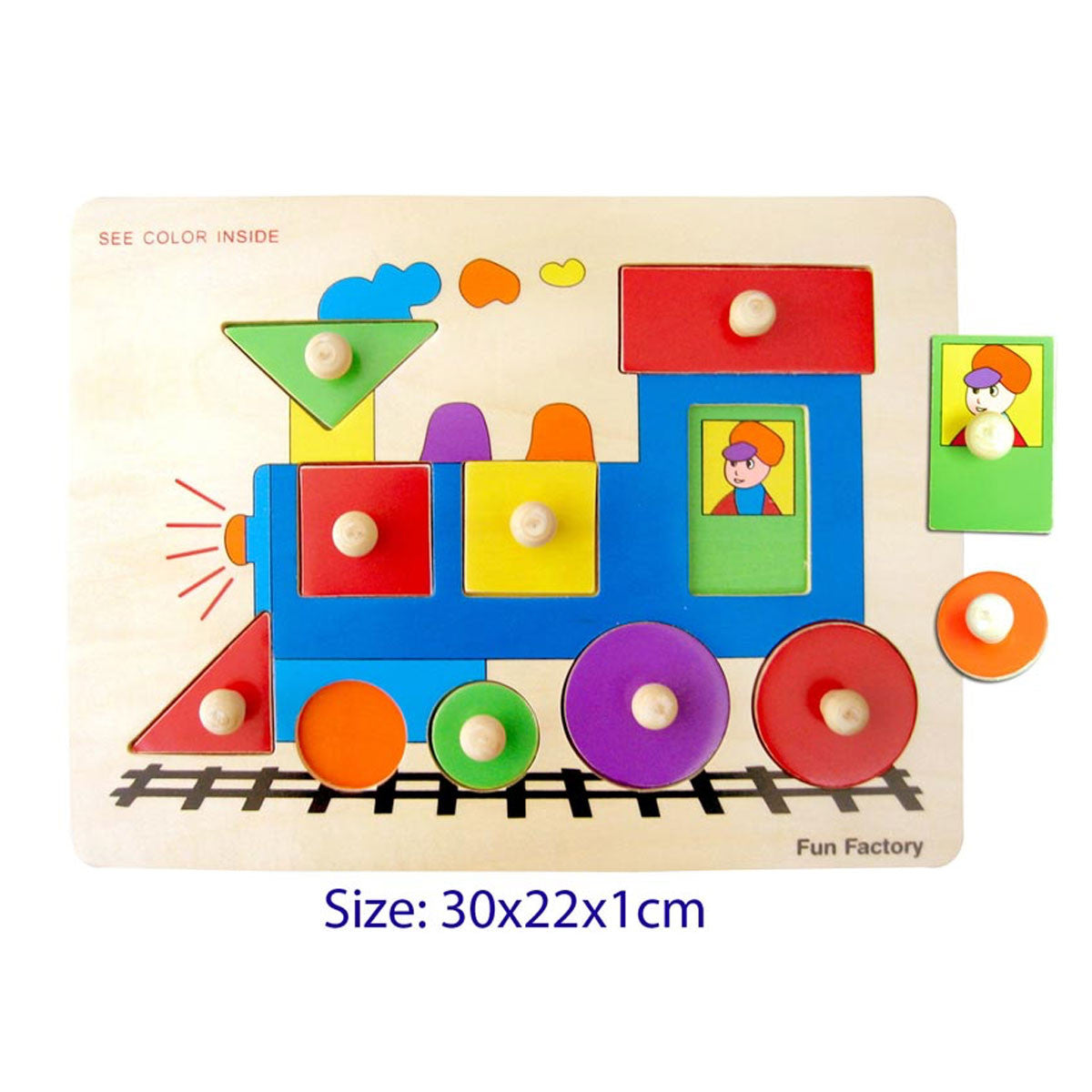 Wooden Baby and Toddler Puzzle - with Handles Fun Factory Puzzles at Little Earth Nest Eco Shop