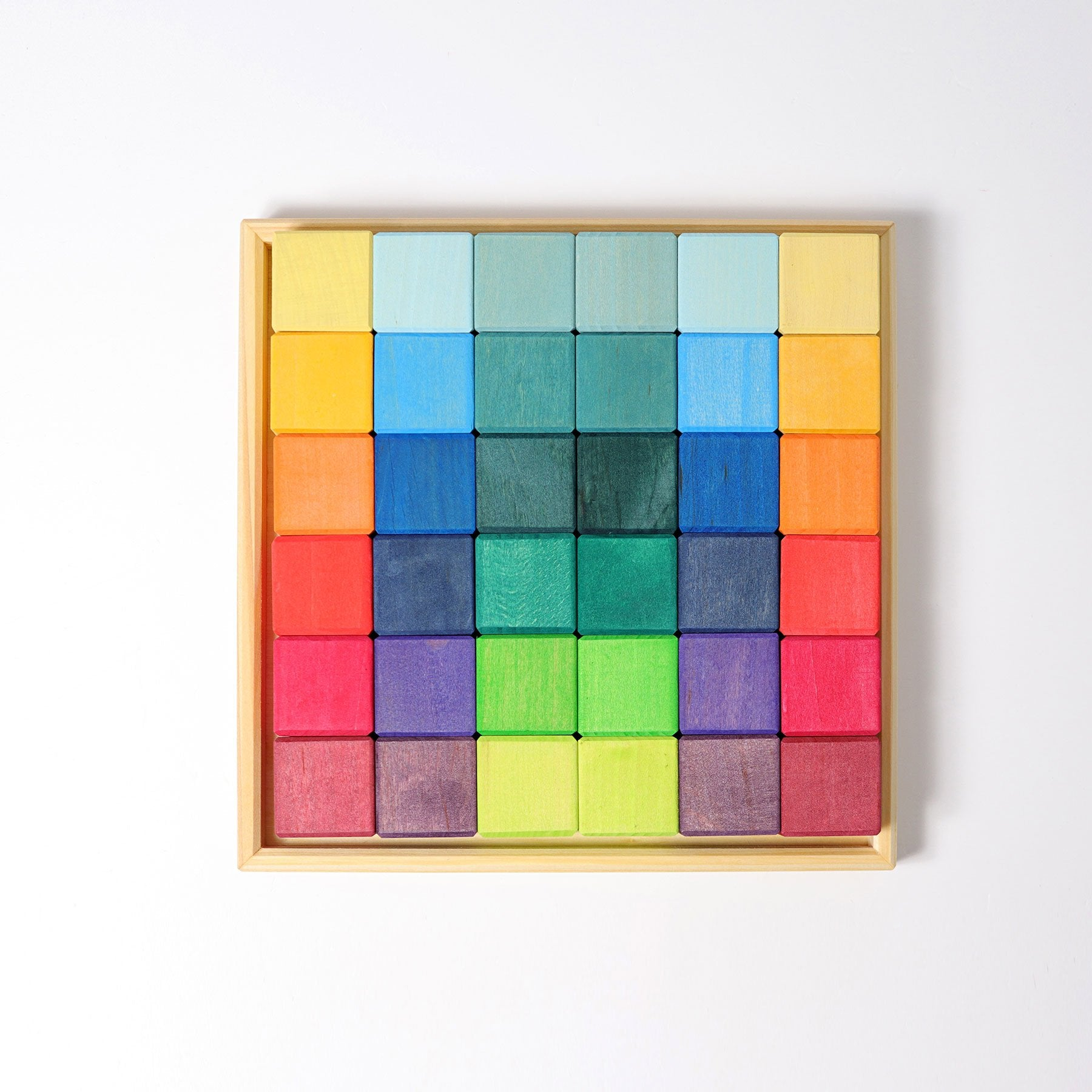 Grimms Rainbow Square Mosaic 36 Wooden Blocks Grimms Puzzle at Little Earth Nest Eco Shop