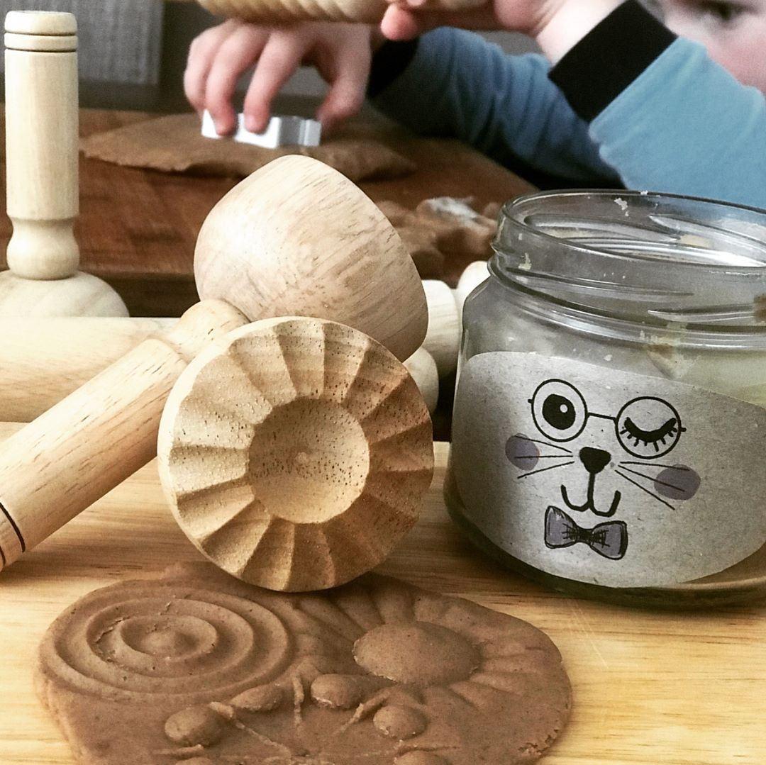 Wooden Playdough Stamps Set of 4 Little Earth Nest Toys at Little Earth Nest Eco Shop