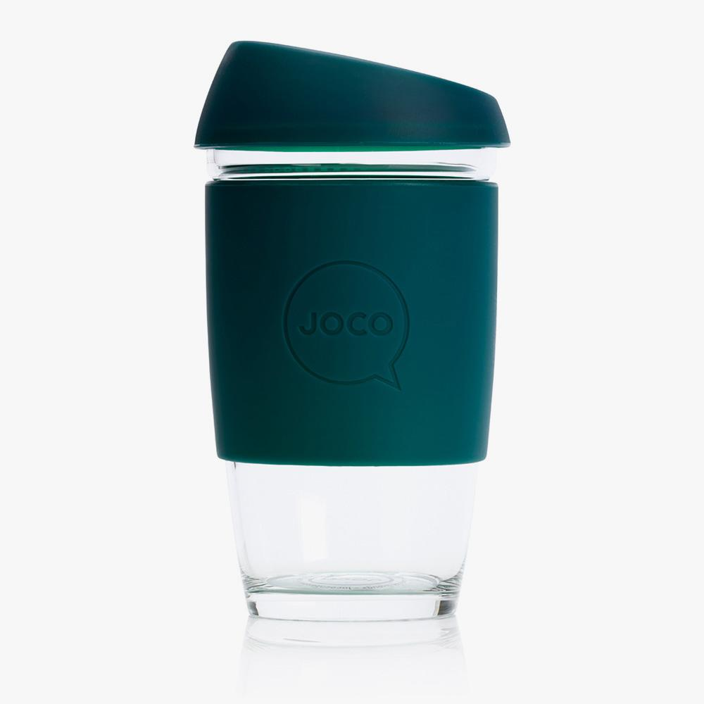 Joco Cup Reusable Glass Cup 16oz Joco Coffee & Tea Cups Deep Teal at Little Earth Nest Eco Shop