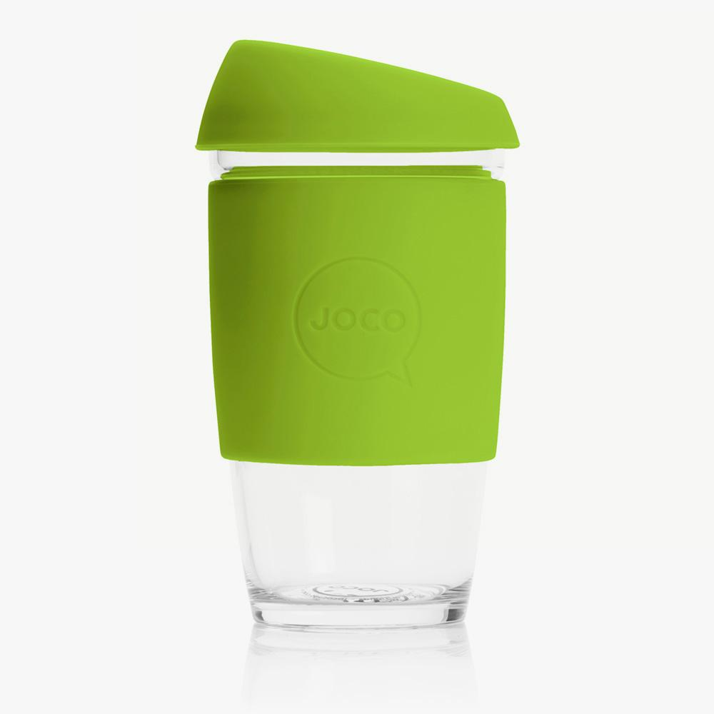 Joco Cup Reusable Glass Cup 16oz Joco Coffee & Tea Cups Lime at Little Earth Nest Eco Shop