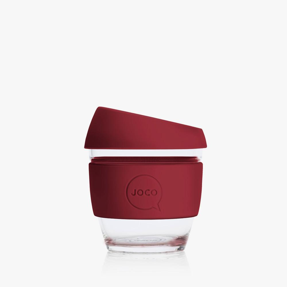Joco Reusable Glass Cup 4oz Joco Coffee & Tea Cups Ruby Wine at Little Earth Nest Eco Shop