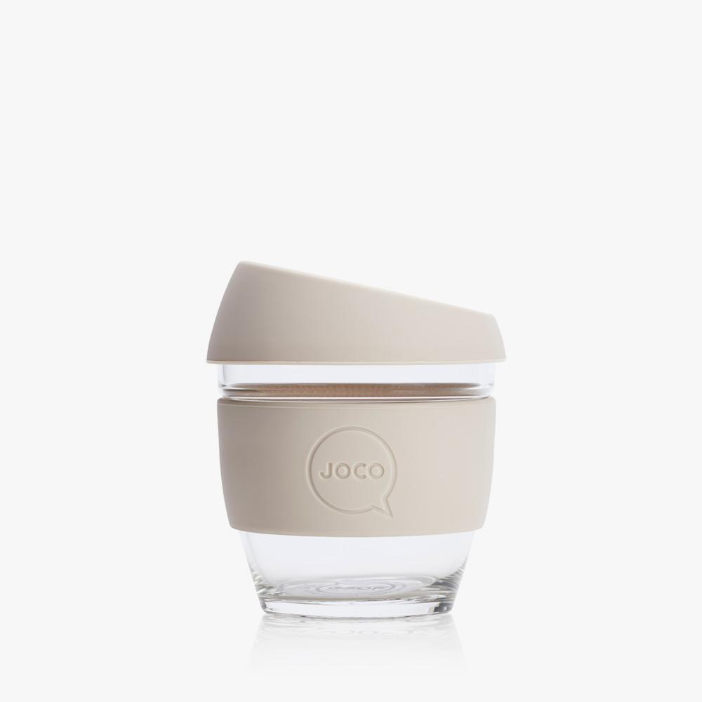 Joco Reusable Glass Cup 4oz Joco Coffee & Tea Cups Sandstone at Little Earth Nest Eco Shop