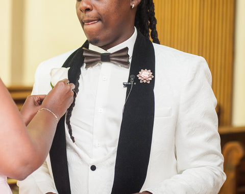 Franck Ndayubashe's wedding wearing Galen wooden bowtie