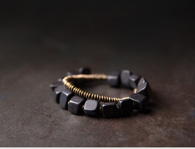 Ebony Beads Wood + Copper Bracelet