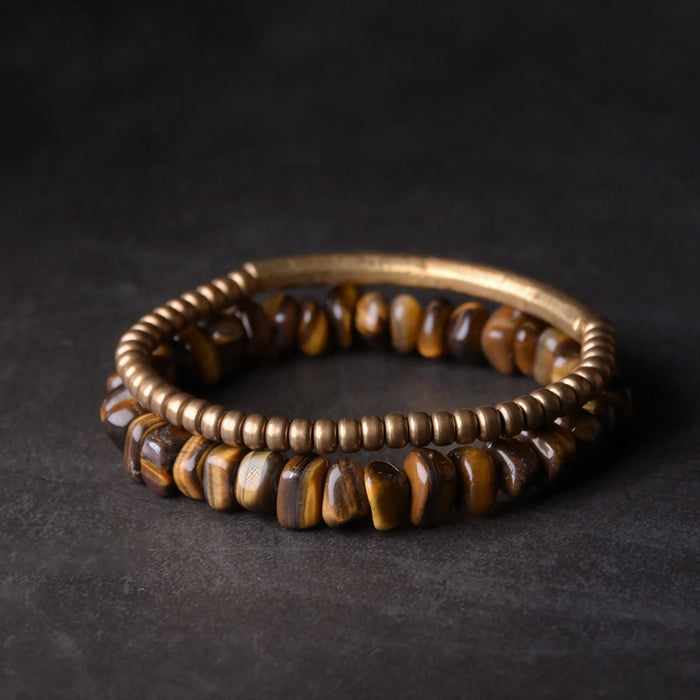 Tiger Eye Stone & beaten Copper Bracelet