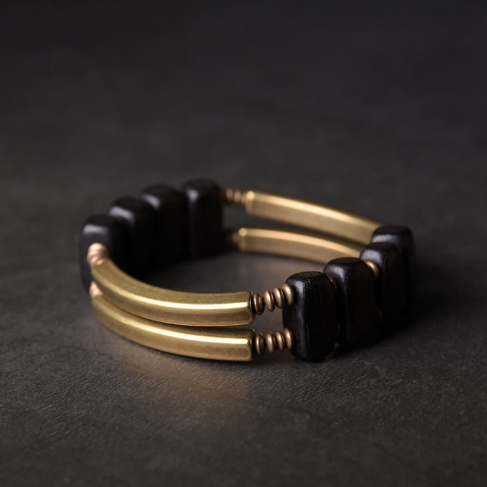 Two Row Ebony Copper Bracelet