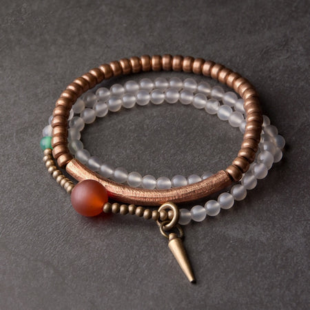 White Agate + Copper Set