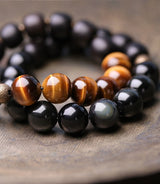 Golden Tiger Eye x Black Obsidian Bracelet