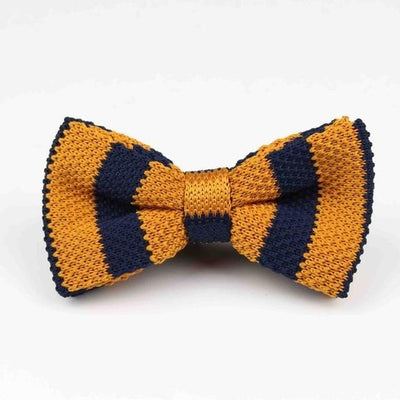 Knitted Adjustable Bow tie - Black & Yellow -offthewood