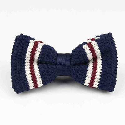 Knitted Adjustable Bowtie - dark Navy blue striped -offthewood