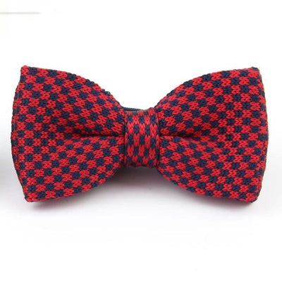 Knitted adjustable Bowtie - Red Blue Checkered -offthewood