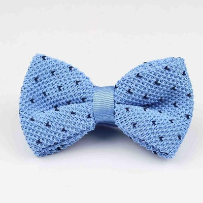 Knitted adjustable Bow tie - Blue Sky -offthewood