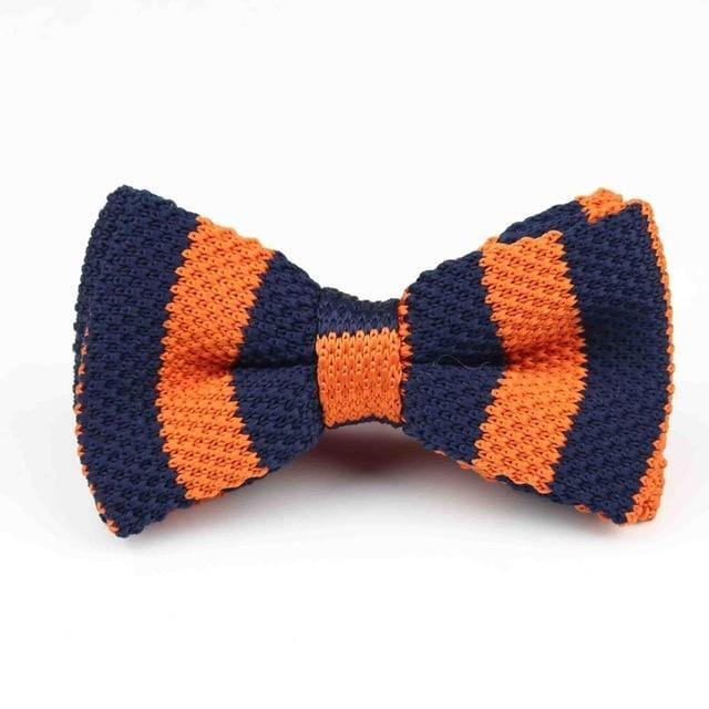Knitted Adjustable  Bow tie - Blue Orange Striped -offthewood