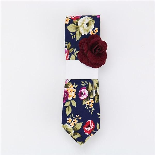 Floral Cotton Tie - Dark Green -offthewood