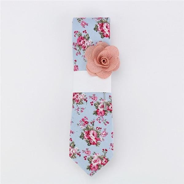 Floral Cotton Tie -  Cadet Blue -offthewood