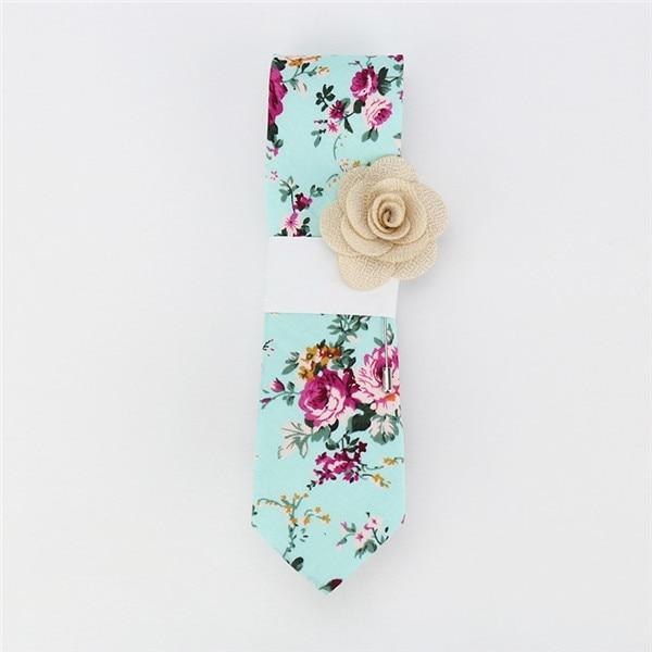 Floral Cotton Tie- Aero Blue -offthewood