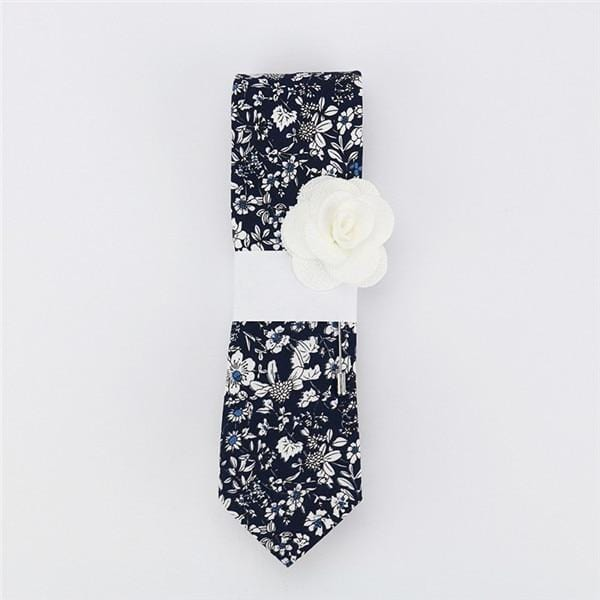 Floral Cotton Tie - Black -offthewood