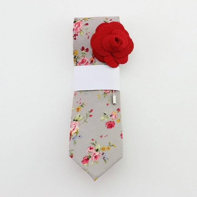 Floral Cotton Tie - Grey & Red -offthewood